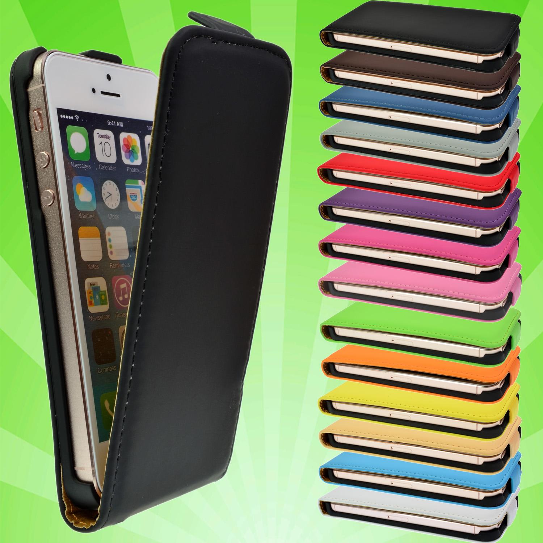 iPhone-5-5S-Leder-Tasche-Case-Cover-Etui-Schutz-Huelle-Handy-Bumper-Flip