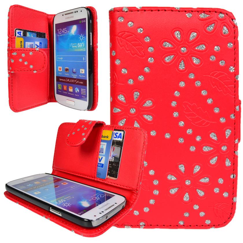 Samsung Galaxy S4 Mini Tasche Handy Flip Case Glitzer Motiv Schutz Hülle Strass