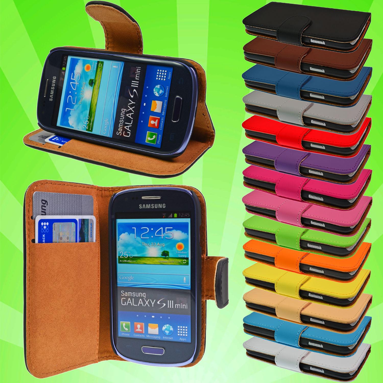 Samsung-Galaxy-S3-Mini-i8190-Leder-Tasche-Flip-Case-Cover-Schutz-Huelle-Folie