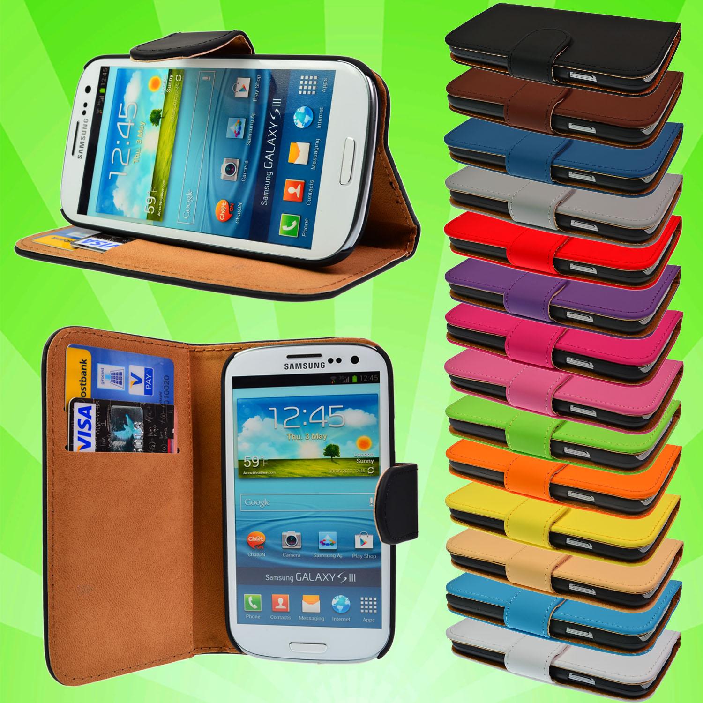 Leder-Tasche-Samsung-Galaxy-S3-i9300-Schutz-Huelle-Etui-Case-Cover-Flip-Folie