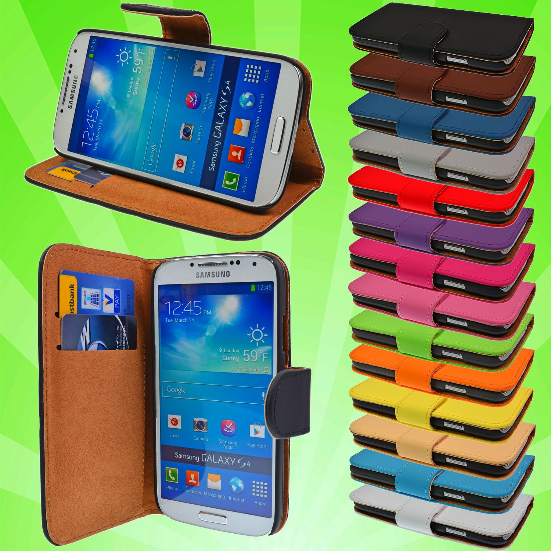 Leder-Tasche-fuer-Samsung-Galaxy-S4-i9500-Schutz-Huelle-Etui-Case-Cover-Flip-i9505